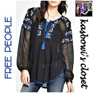FREE PEOPLE Black Lace Embellished Boho Top SZ S